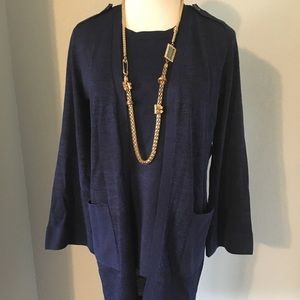 Chico's Blue 2-Piece Long Cardigan Set Size 0
